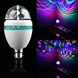 Rotating LED Light Bulb, Automatic Rotating 3W E27 Disco Ball Lamp RGB, Strobe Lights Party Bulb Stage Light for Family Parties,Birthday, Rainbow Desk Lamp Lifetime 50000 Hours