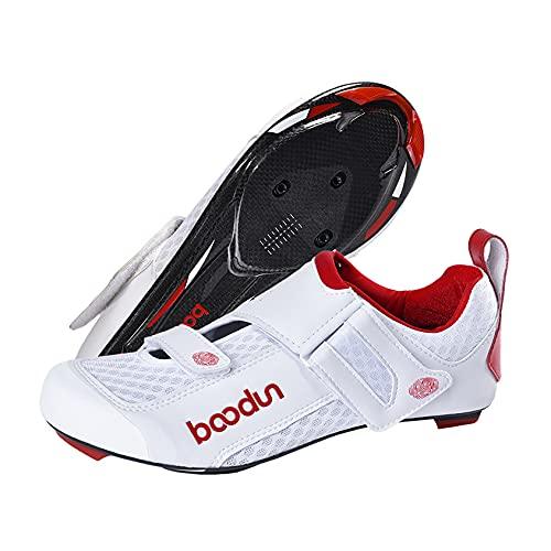 Zapatillas de ciclismo de carretera para hombre, velcro ancho, doble malla transpirable, 3 agujeros con bloqueo de giro, unisex, blanco, 39