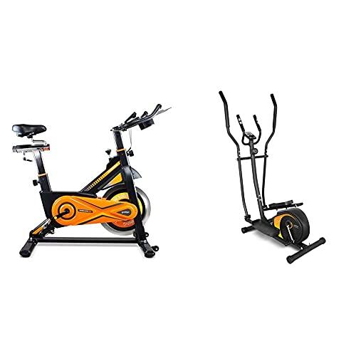 gridinlux. Trainer Alpine 8000. Bicicleta estática Spinning. Volante de Inercia 25 kg, Nivel Avanzado + . Trainer ELIPTIC 1500. Bicicleta Elíptica para casa Multifuncional. Doble Manillar Ergonómico
