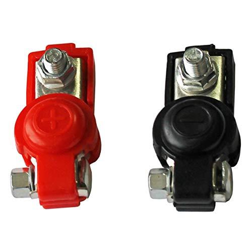 DBSUFV 2X Abrazaderas de liberación rápida de batería terminales de Polo de 6-12 V terminales de batería de automóvil Conector de Color Negro y Rojo