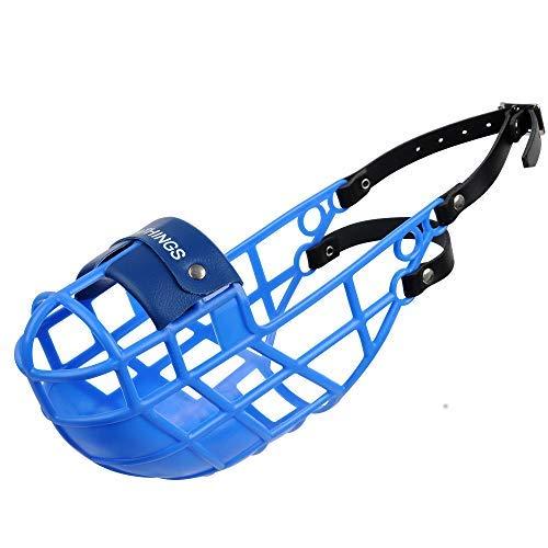 AMATHINGS Bozal Modelo Super Kennel Soft con Pieza Nasal Acolchada En Azul Beber Siempre Posible Ideal para freewheeling, Dog Meadow, Perrera, Raza