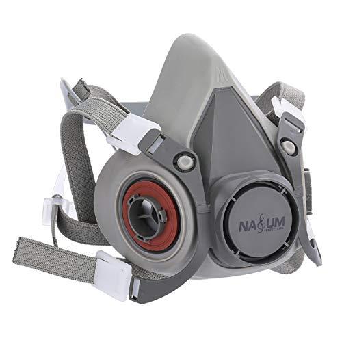 NASUM Halb Gesicht Abdeckung Wiederverwendbare, Serie Grau M101, mit Filter*2, Baumwolle*4(Mitte) - 2