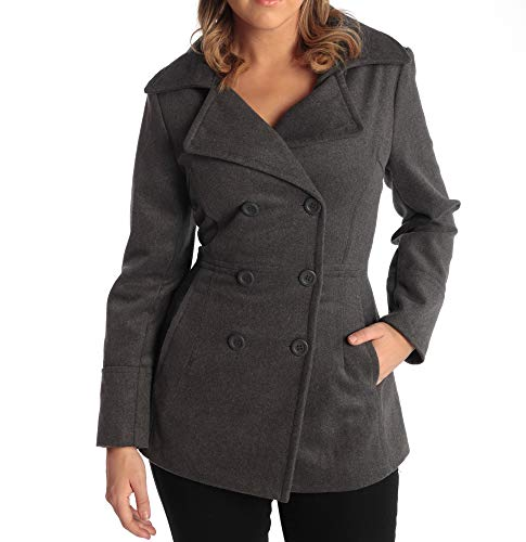 Alpine Swiss Emma Womens Gray Wool 3/4 Length Double Breasted Peacoat Large
