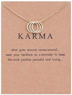 SX Commerce Women Necklace Karma Ring Interlocking Circles Necklace Pendant Friendship Necklaces, Bridesmaid Gift, Pendant...