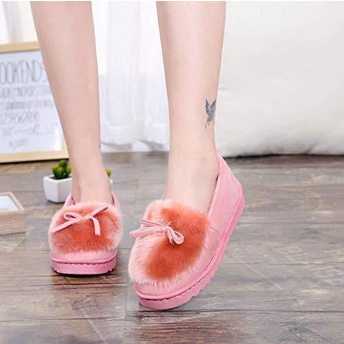 SLM-max Zapatillas Unisex,de Mujer, de Ballet, Hermoso Lazo, Piel cálida, otoño Invierno, Zapatos cómodos de algodón, Mocasines de Mujer, mullidas y cálidas, rosa-37