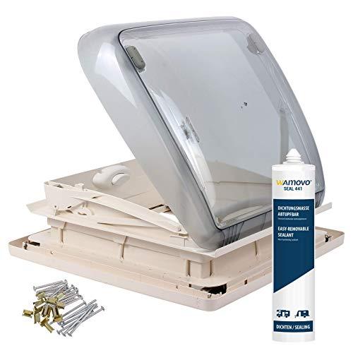 Dometic Mini Heki 40 x 40 Dachstärke 25-42 mm Zwangsbelüftung + Dekalin Dichmittel für Wohnwagen oder Wohnmobil