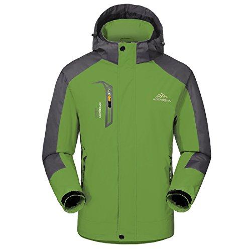 Giacca a Vento softshell - GIVBRO - per Uomo con cappuccio da Trekking Montagna Pouring Adventure e Outdoor Sports (verde, L)