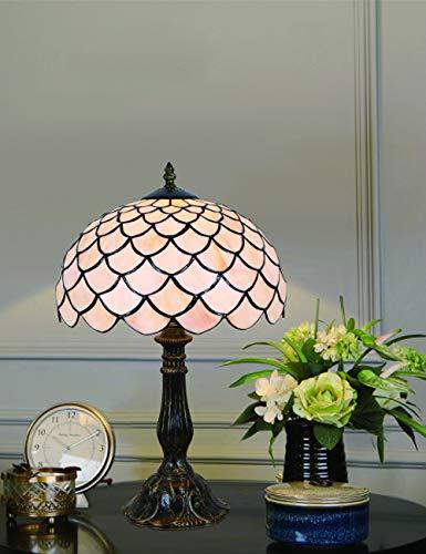 Lampada da tavolo da comodino in stile europeo semplice da 12 pollici in vetro colorato bianco