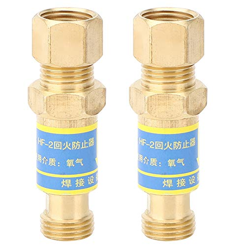 Flashback Valve, 2PCs Gas Welding Accessory, Durable Copper Electrician Tools, for Preventing Oxygen Flashback, for Welding, Cutting, Construction, Machinery