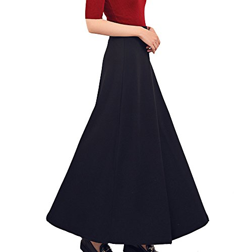 TEERFU Donna Gonna Elastica Lunga Vestito A-Lino Cotone Vintage Maxi Plissettata Retrò Gonna , Colore solido