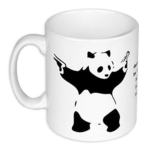 Destroy Racism Tasse - Banksy Panda Kaffeetasse Mug - weiß, aus Keramik