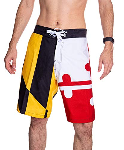 Calhoun Men's State Flag Swim Board Shorts (Maryland Flag, Large)