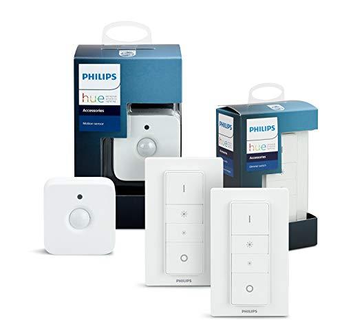 Philips Hue Dimmschalter Doppelpack inkl. Hue Bewegungssensor, Zubehör für Ihr Philips Hue System