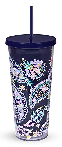 Vera Bradley Blue Acrylic Insulated Travel Tumbler with Reusable Straw, 24 Ounces, French Paisley
