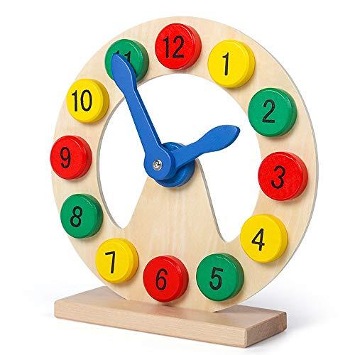 Yifuty Multifunktionale Grafik Uhr, Early Education Puzzle Bauklotz Form Spielzeug, Geschenke for Jungen und Mädchen 1-3 Jahre alt, Form Matching, Zeit-Konzept