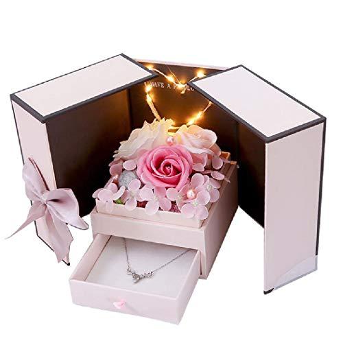 PAPAO Caja de Rose con Rosas eternas, Joyas de Rosa eterna Hecha a Mano, Regalo de Caja de joyería de Flor de Rosa, Regalo del día de la Madre,B