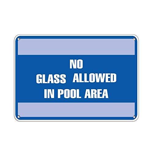 No Glass Allowed in Pool Area Pool Metallwand Zeichen Blechschilder Warnung hängen Vintage Kunst Folie Poster Band Malerei Promi Bar Cafe Garten öffentliches Geschenk
