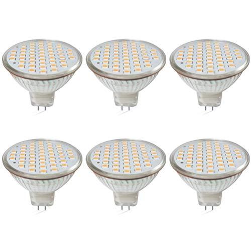 GLMING MR16 G5.3 48-2835 SMD-LED-Leuchtmittel, 3 W, G5.3, Bi-Pin-Sockel, Lampe Spot, AC 12 V/DC 12 - 24 V, warmweiß, 6 Stück, GU5.3 [Energieklasse A+]