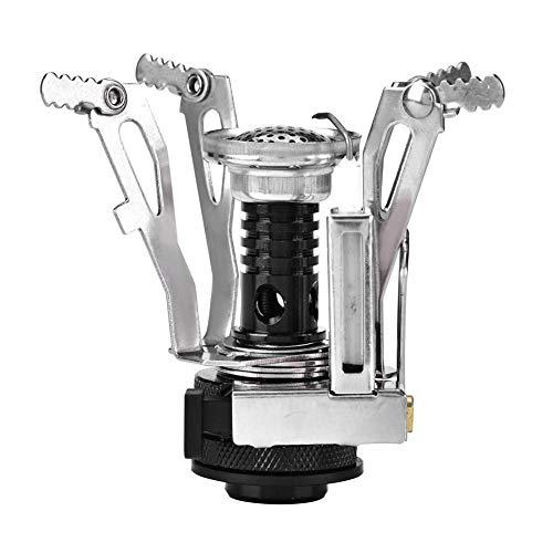 Demeras Mini Stufa a Gas da Campeggio Portatile in Lega di Alluminio Bruciatore Leggero per Stufa a Gas per Cucinare all'aperto Campeggio Picnic Backpacking Escursionismo(Nero)