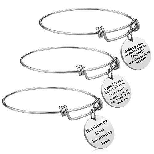 iJuqi Friendship Bracelet - 3 PCS Stainless Steel Expendable Inspirational BFF Friends Bangle Bracelets Christmas Graduation Birthday Gifts