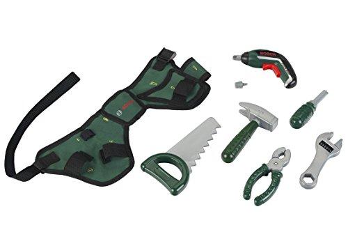 Theo Klein 8313 Cinturón de herramientas Bosch, Con martillo, alicates, sierra y mucho más, Con Ixolino a pilas, Medidas: 76 cm x 24 cm 4.5 cm, Juguete para niños a partir de 3 años