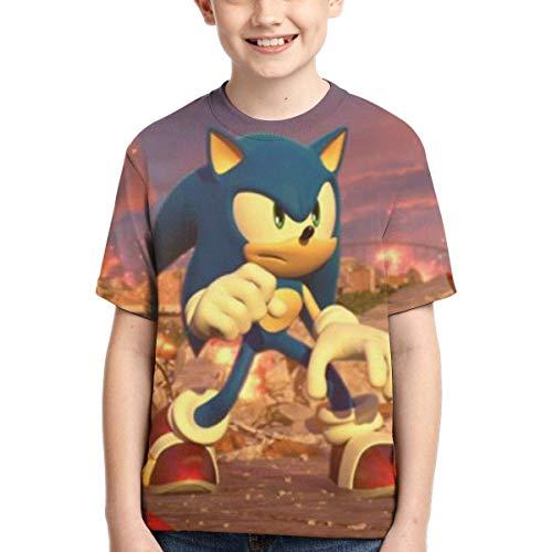 YYTY Sonic The Hedgehog T Shirt per Ragazzi T-Shirt Manica Corta da Bambino Manica Corta Estate T-Shirt Moda