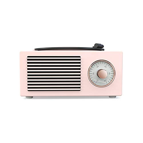 DAMAI STORE Verde Blanco Altavoz Bluetooth Mini Regalo Creativo De Vinilo Fonógrafo Casa Tarjeta Mini Pequeño Equipo De Música Retro De Color Rosa (Color : Pink)