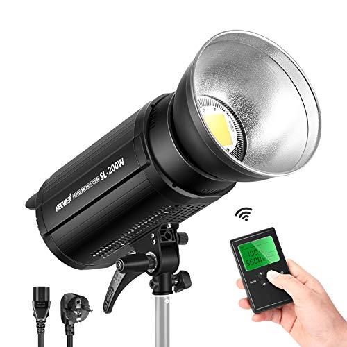 Neewer Regulable Luz de Video 200Ws LED 5600K Balanceada con Luz Diurna 21000LM Lámpara Continua con Soporte Bowens para Youtube Retrato Fotografía Iluminación Entrevista RA 95+