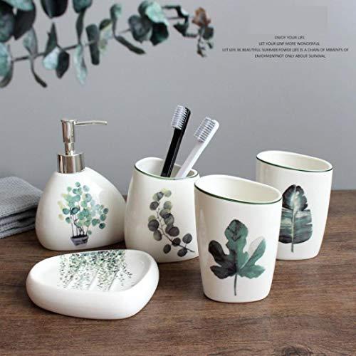 Conjunto de accesorios de baño con patrón de hojas moderno dispensador de jabón de mano de cerámica con bomba incluye dispensador desinfectante para baño verde (1)