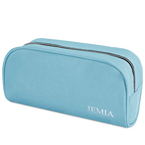 JEMIA Single Compartments Collection 1 Independent Zipper Chambers with Mesh, Zip Pockets Pencil Case (Cyan Blue, Polyester)