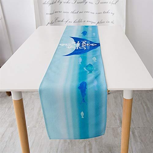 DXNXLLY Decoración hogareña Tabla Corredores mediterráneos Impermeable Anti-escaldar Grueso Algodón Azul Camino de Mesa para decoración de Fiesta en casa (Color : Y, Size : 30 * 160cm)