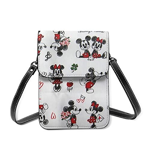 Mickey Mouse - Bolso de piel para teléfono celular pequeño y ligero, correa ajustable