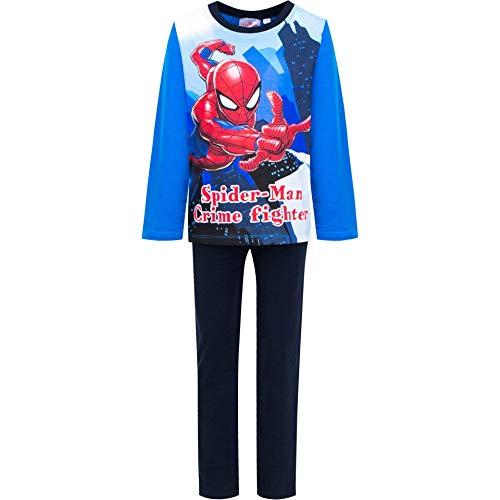 Marvel Spider-Man Crime Fighter Pyjama Lang Blau für Kinder Größe 116