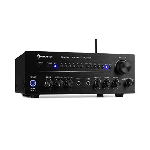 auna Intelligence Amp Stereo versterker Home cinema versterker (2 x 40 watt max, 2 x aux-in, WiFi, Bluetooth, app-bediening, multiroom-functie, voor Spotify / TIDAL / Napster / iHeartRadio en nog veel meer) zwart