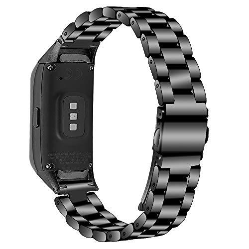 Ruentech Kompatibel mit Samsung Galaxy Fit SM-R370 Aktivitäts Tracker Armband Band Edelstahl Metall Ersatzbänder für Galaxy Fit SM-R370 Fitness Tracker Zubehör (Schwarz)