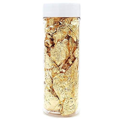 CAJHFIZHANGU 1 pieza de copos de oro auténticos comestibles de hoja de oro genuino para pasteles, cocina y belleza decorativa