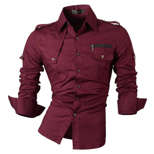 jeansian Men's Slim Long Sleeves Casual Button Down Dress Shirt 8371 WineRed XL