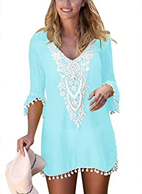 BLENCOT Women's Crochet Chiffon Tassel Swimsuit Bikini Pom Pom Trim Swimwear Beach Cover Up-Light Blue X-Large
