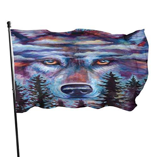 Jacklee Wolf Olie Schilderij Tuinvlaggen Duurzame Fade Resistant Decoratieve Vlaggen Premium Officiële Vlag met Grommets Deluxe Outdoor Banner 2020 voor Alle Seizoenen & Vakanties- 3X 5 Ft