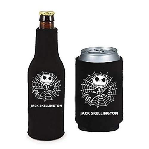2Pack The Nightmare Before Christmas Jack Skellington Can & Bottle Holder Insulator Beverage Cooler Set Neoprene Beer Bottle Cooler Sleeve with Zipper Sleeves (For Jack Skellington)