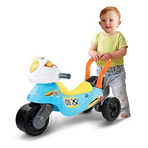 VTech - Moto de carreras 3en1 azul/am, Correpasillos andador evolutivo con tres modos de juego, panel interactivo, enseña colores, música y hábitos cotidianos, multitud frases y canciones (80-529422)