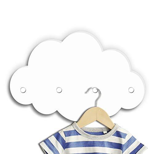 Kindsblick ® Wolkengarderobe in weiß - Garderobe mit 4 Kleiderhaken für Kinder - Wunderschöne Deko für jedes Kinderzimmer - Maße (38 x 25 x 1 cm)
