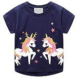Camisetas Niñas Tops y Blusas Manga Corta Caballo Unicornio Lentejuelas Animal Print Azul...