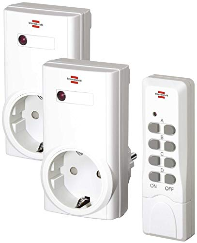 Brennenstuhl Funkschalt-Set RCS 1000 N Comfort, 2er Funksteckdosen Set (Funksteckdose raspberry pi mit Handsender und erhöhtem Berührungsschutz) weiß