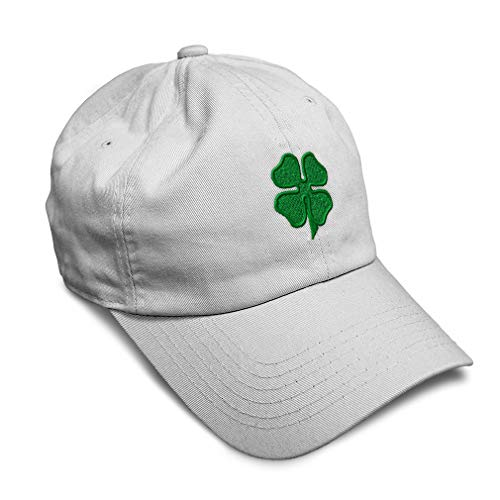 Soft Baseball Cap 4 Leaf Clover Embroidery Holidays and Occasions St Patrick's Day Twill Cotton Dad Hats for Men & Women Buckle Closure White Design Only