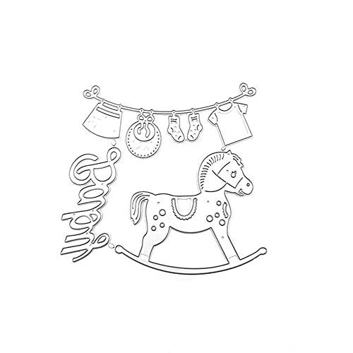 Uteruik - Fustelle in metallo per stencil a dondolo, modello di cavallo per goffratura, strumento per fai da te, scrapbooking, carta e artigianato (#B)