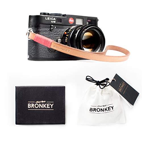 Bronkey Tokio 203 - Correa Cámara Compacta de Muñeca Mano Retro cámara Vintage Handmade Piel Cuero Original