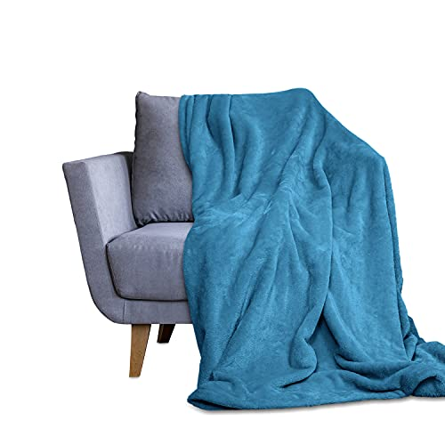 Throw Blanket for Couch & Bed - Decorative Size Fleece Blanket - Soft, Fuzzy, Cozy & Breathable - Plush Microfiber Home Decor (50x60,Blue)