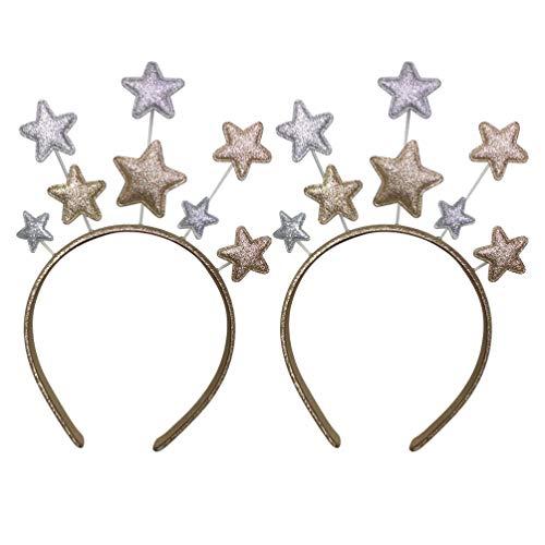 Amosfun 2 Piezas Estrellas Diadema Disfraz Diadema Lentejuelas Brillo Diadema para Fiesta de Cumpleaños Festival de Carnaval Cosplay Accesorios para El Cabello