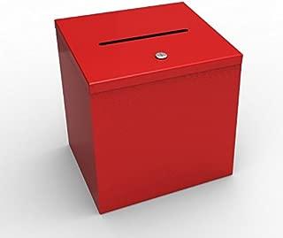 FixtureDisplays Box, Red Metal Donation Suggestion 9 x 9 x 9 10918 10918-RED